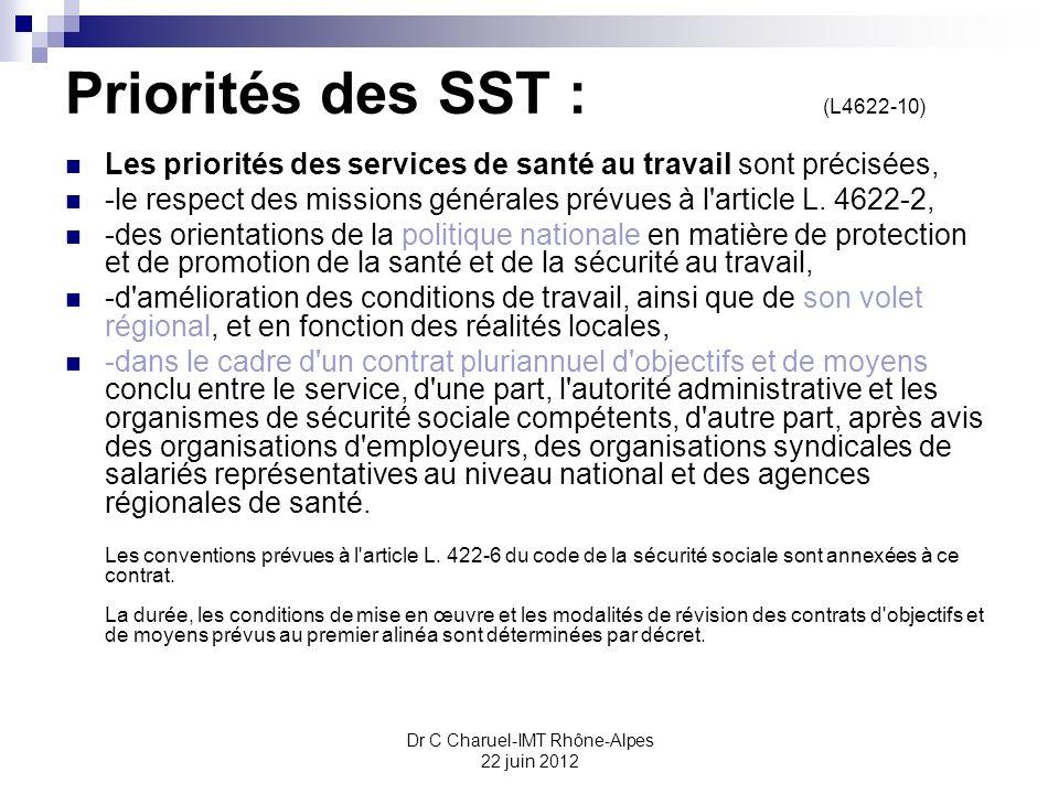 Dr C Charuel-IMT Rhône-Alpes 22 juin 2012 Priorités des SST : (L4622-10) Les priorités des services de santé au travail sont précisées, -le respect de