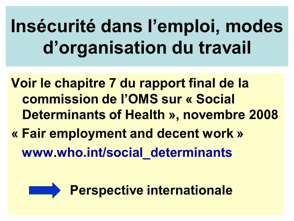 Voir le chapitre 7 du rapport final de la commission de lOMS sur « Social Determinants of Health », novembre 2008 « Fair employment and decent work »