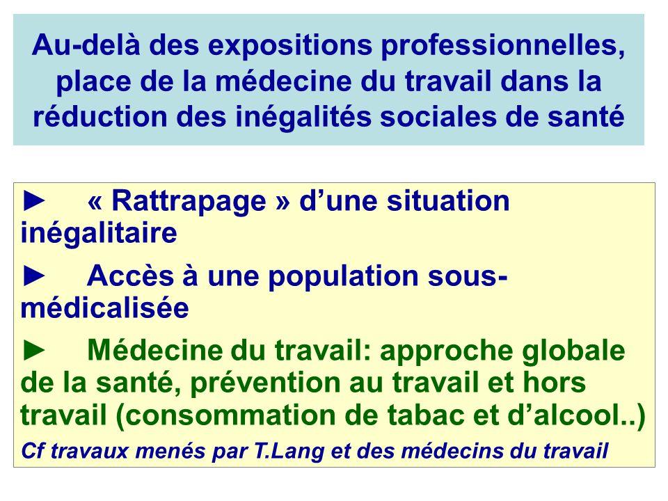Au-delà des expositions professionnelles, place de la médecine du travail dans la réduction des inégalités sociales de santé « Rattrapage » dune situa