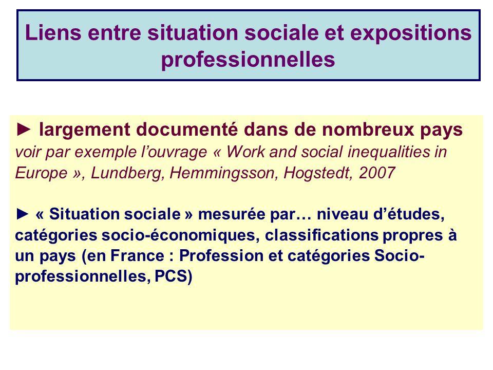Liens entre situation sociale et expositions professionnelles largement documenté dans de nombreux pays voir par exemple louvrage « Work and social in