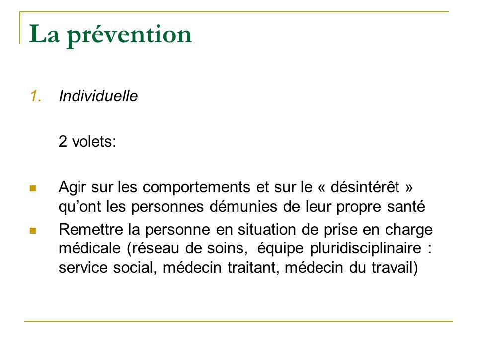 La prévention 1.Individuelle 2 volets: Agir sur les comportements et sur le « désintérêt » quont les personnes démunies de leur propre santé Remettre