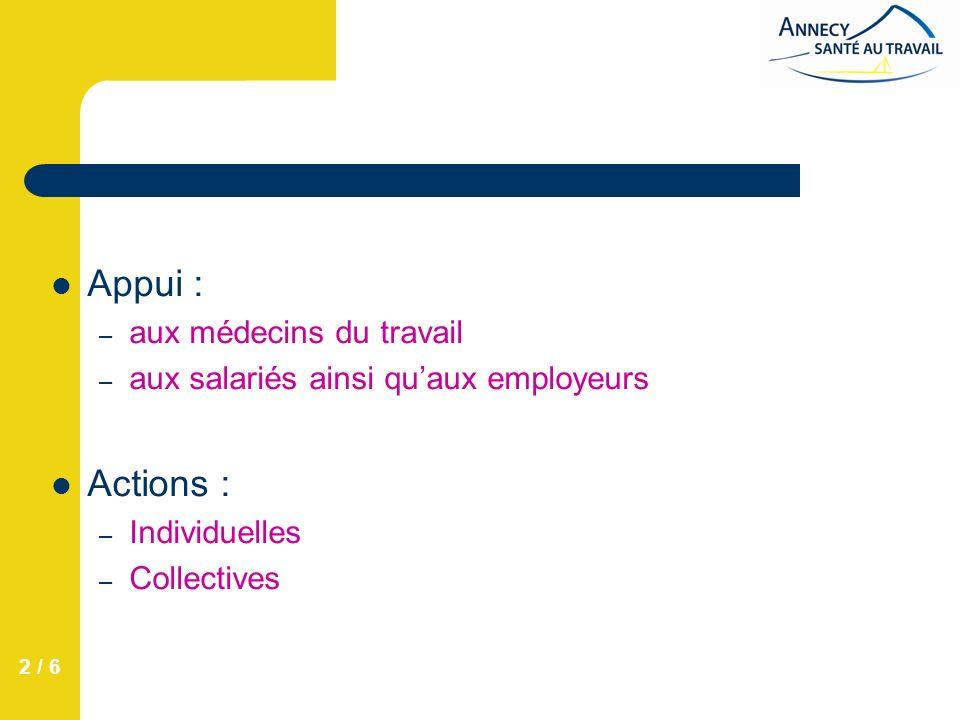 2 / 6 Appui : – aux médecins du travail – aux salariés ainsi quaux employeurs Actions : – Individuelles – Collectives