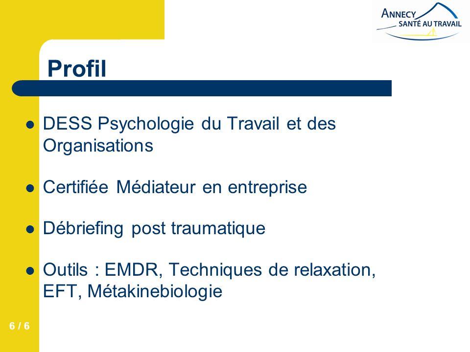 6 / 6 Profil DESS Psychologie du Travail et des Organisations Certifiée Médiateur en entreprise Débriefing post traumatique Outils : EMDR, Techniques de relaxation, EFT, Métakinebiologie