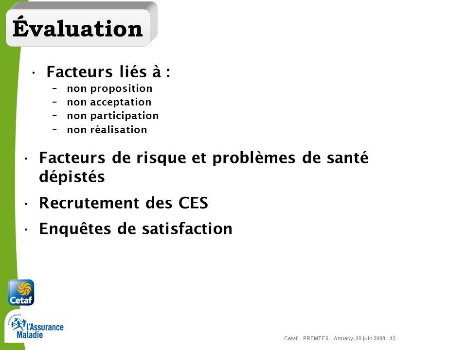 Cetaf – PREMTES – Annecy, 20 juin 2008 - 13 Évaluation Facteurs liés à : –non proposition –non acceptation –non participation –non réalisation Facteur