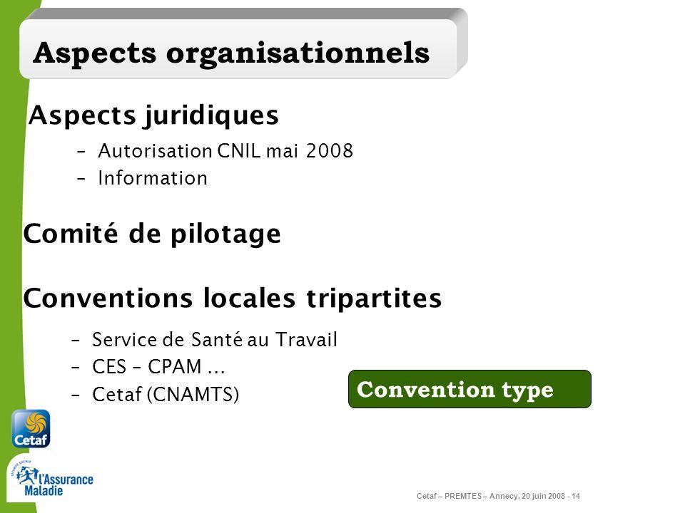 Cetaf – PREMTES – Annecy, 20 juin 2008 - 14 –Autorisation CNIL mai 2008 –Information Aspects juridiques Conventions locales tripartites –Service de Sa