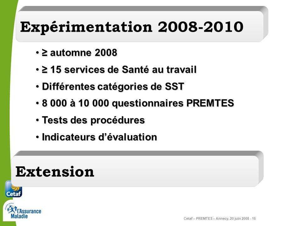 Cetaf – PREMTES – Annecy, 20 juin 2008 - 15 Expérimentation 2008-2010 automne 2008 automne 2008 15 services de Santé au travail 15 services de Santé a