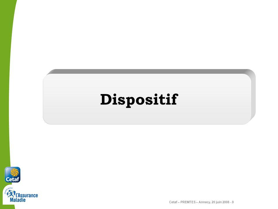 Cetaf – PREMTES – Annecy, 20 juin 2008 - 9 Dispositif