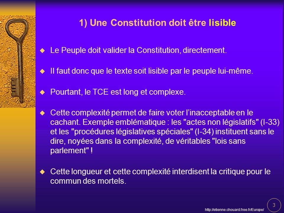 3 http://etienne.chouard.free.fr/Europe/ 1) Une Constitution doit être lisible Le Peuple doit valider la Constitution, directement. Il faut donc que l