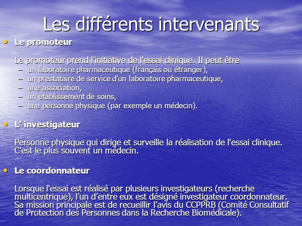 Les différents intervenants Le promoteur Le promoteur Le promoteur prend linitiative de l'essai clinique. Il peut être –un laboratoire pharmaceutique