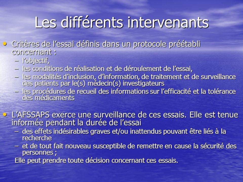 Les différents intervenants Critères de lessai définis dans un protocole préétabli concernant : Critères de lessai définis dans un protocole préétabli