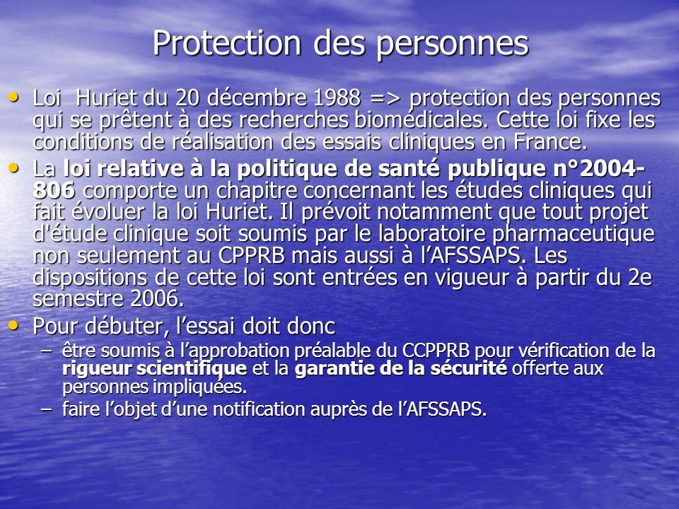 Protection des personnes Loi Huriet du 20 décembre 1988 => protection des personnes qui se prêtent à des recherches biomédicales. Cette loi fixe les c