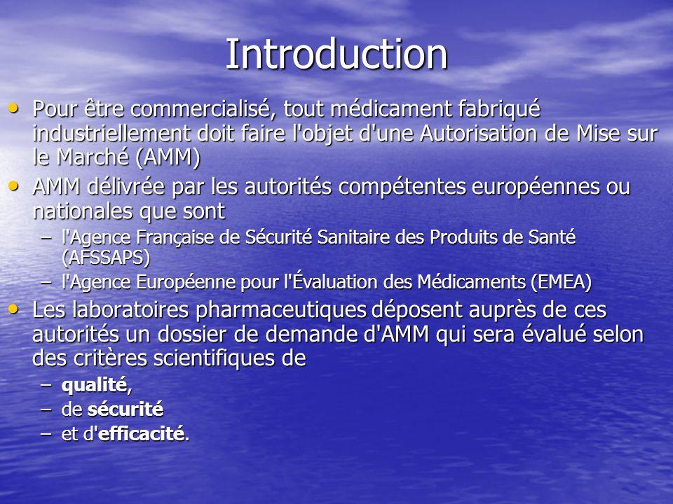 Introduction Pour être commercialisé, tout médicament fabriqué industriellement doit faire l'objet d'une Autorisation de Mise sur le Marché (AMM) Pour