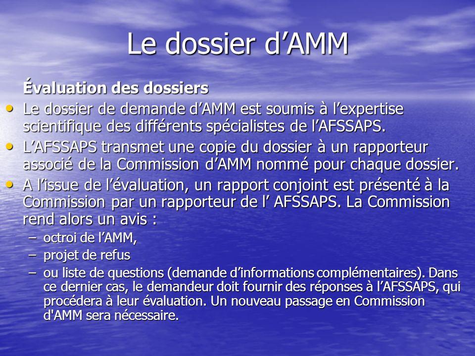 Le dossier dAMM Évaluation des dossiers Le dossier de demande dAMM est soumis à lexpertise scientifique des différents spécialistes de lAFSSAPS. Le do