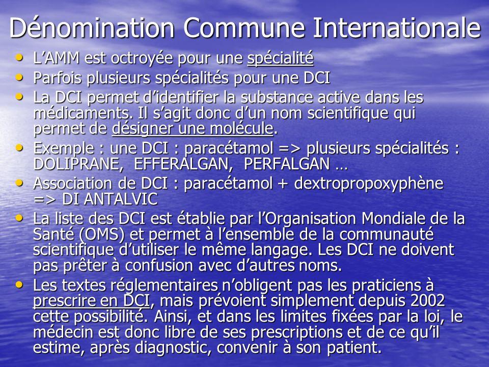 Dénomination Commune Internationale LAMM est octroyée pour une spécialité LAMM est octroyée pour une spécialité Parfois plusieurs spécialités pour une