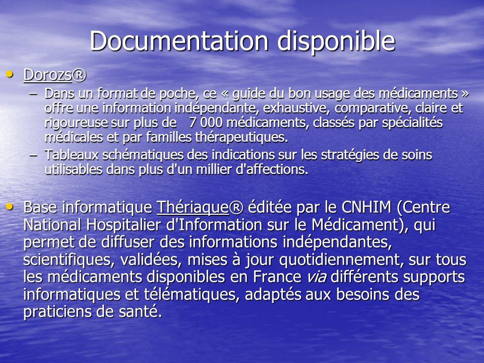 Documentation disponible Dorozs® Dorozs® –Dans un format de poche, ce « guide du bon usage des médicaments » offre une information indépendante, exhau