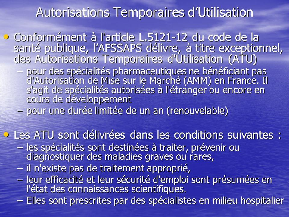 Autorisations Temporaires dUtilisation Conformément à l'article L.5121-12 du code de la santé publique, lAFSSAPS délivre, à titre exceptionnel, des Au
