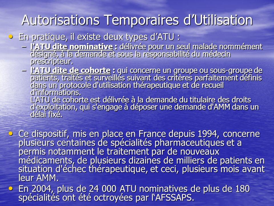 Autorisations Temporaires dUtilisation En pratique, il existe deux types dATU : En pratique, il existe deux types dATU : –l'ATU dite nominative : déli