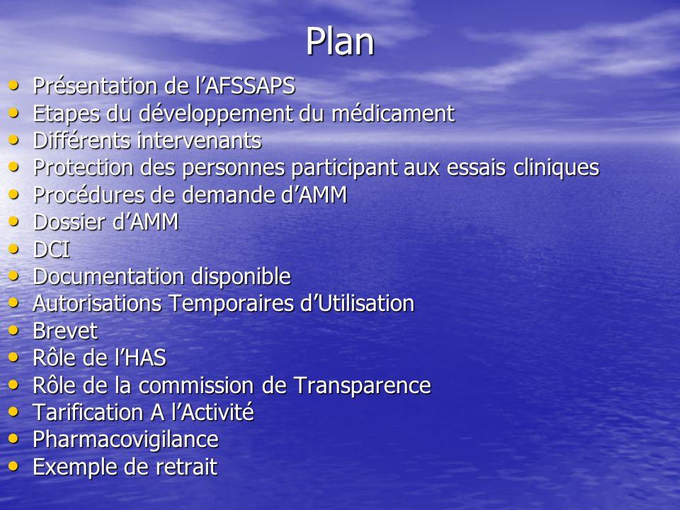 Plan Présentation de lAFSSAPS Présentation de lAFSSAPS Etapes du développement du médicament Etapes du développement du médicament Différents interven