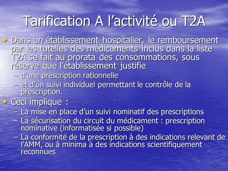 Tarification A lactivité ou T2A Dans un établissement hospitalier, le remboursement par les tutelles des médicaments inclus dans la liste T2A se fait