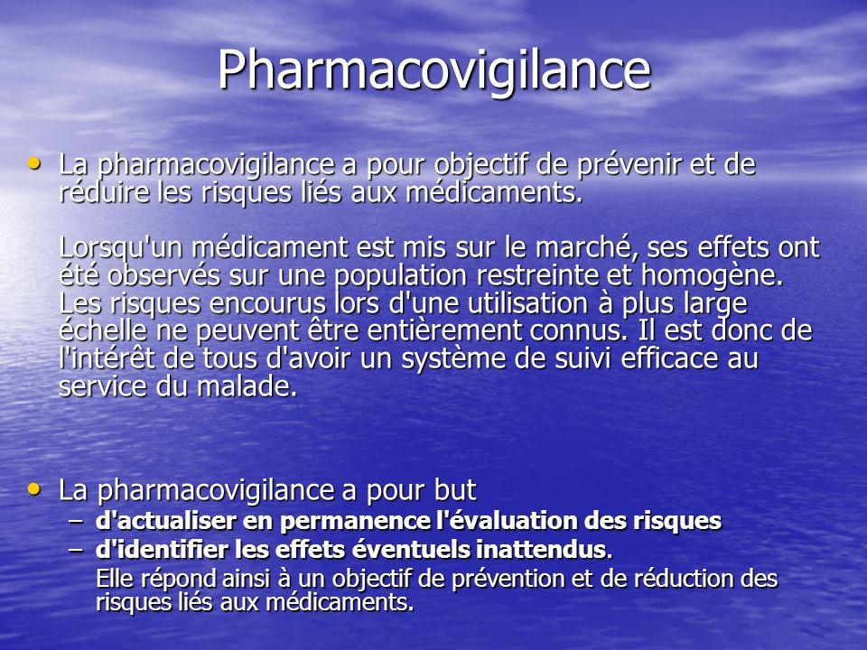 Pharmacovigilance La pharmacovigilance a pour objectif de prévenir et de réduire les risques liés aux médicaments. Lorsqu'un médicament est mis sur le