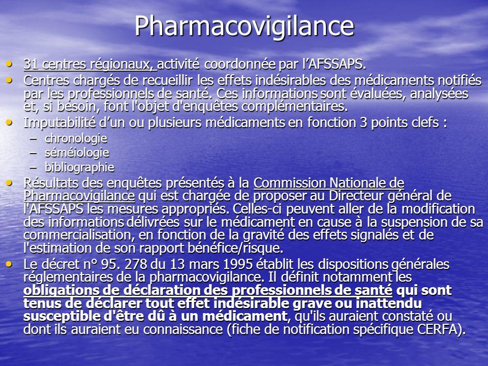 Pharmacovigilance 31 centres régionaux, activité coordonnée par lAFSSAPS. 31 centres régionaux, activité coordonnée par lAFSSAPS. Centres chargés de r