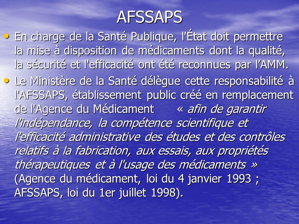 AFSSAPS L AFSSAPS a plusieurs missions : L AFSSAPS a plusieurs missions : –Donner un avis scientifique aux laboratoires pour le développement de nouvelles molécules –Expertiser le domaine technico-réglementaire du médicament.