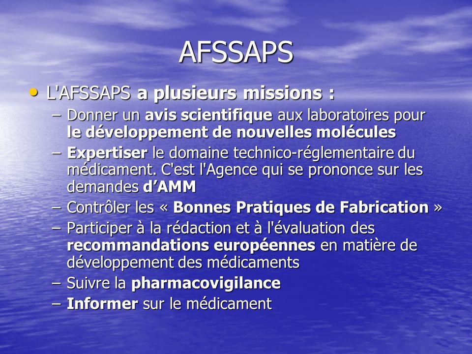 AFSSAPS L'AFSSAPS a plusieurs missions : L'AFSSAPS a plusieurs missions : –Donner un avis scientifique aux laboratoires pour le développement de nouve