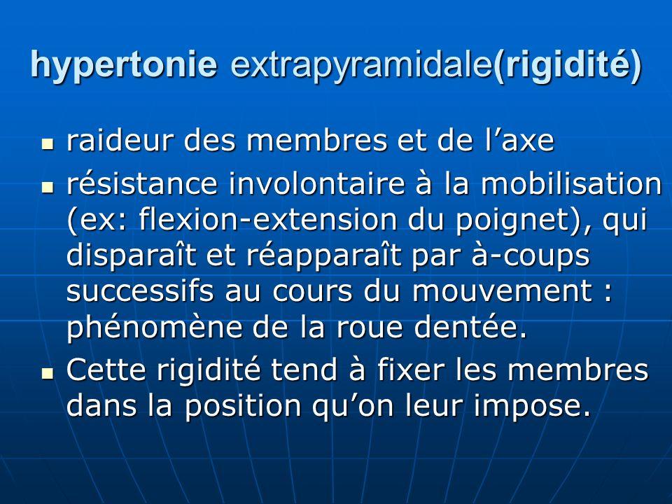 hypertonie extrapyramidale(rigidité) raideur des membres et de laxe raideur des membres et de laxe résistance involontaire à la mobilisation (ex: flex