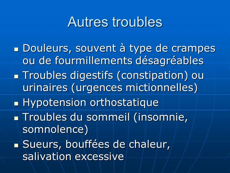 Autres troubles Douleurs, souvent à type de crampes ou de fourmillements désagréables Douleurs, souvent à type de crampes ou de fourmillements désagré