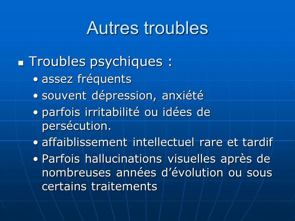 Autres troubles Troubles psychiques : Troubles psychiques : assez fréquentsassez fréquents souvent dépression, anxiétésouvent dépression, anxiété parf