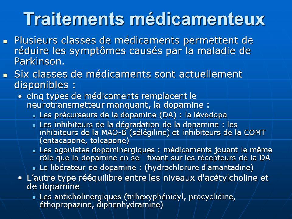 Traitements médicamenteux Plusieurs classes de médicaments permettent de réduire les symptômes causés par la maladie de Parkinson. Plusieurs classes d