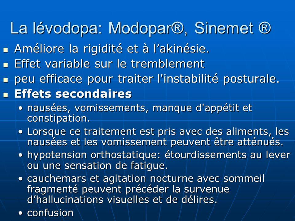 La lévodopa: Modopar®, Sinemet ® Améliore la rigidité et à lakinésie. Améliore la rigidité et à lakinésie. Effet variable sur le tremblement Effet var