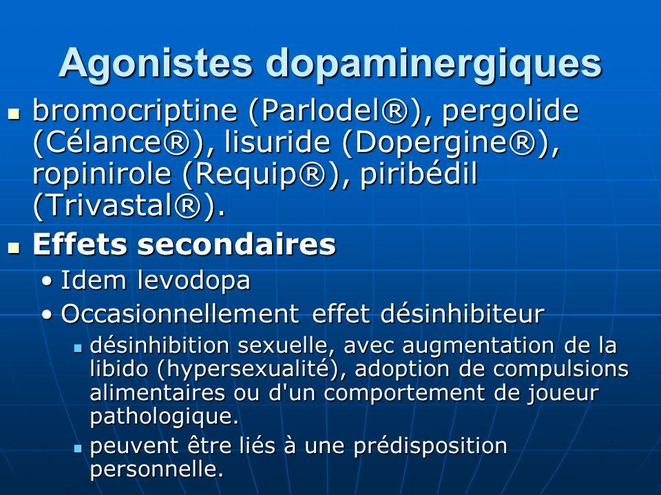 Agonistes dopaminergiques bromocriptine (Parlodel®), pergolide (Célance®), lisuride (Dopergine®), ropinirole (Requip®), piribédil (Trivastal®). bromoc