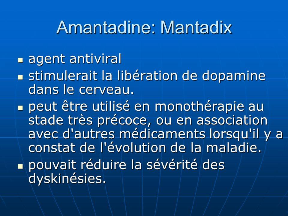 Amantadine: Mantadix agent antiviral agent antiviral stimulerait la libération de dopamine dans le cerveau. stimulerait la libération de dopamine dans
