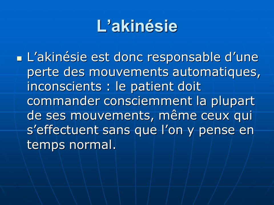 Lakinésie Lakinésie est donc responsable dune perte des mouvements automatiques, inconscients : le patient doit commander consciemment la plupart de s