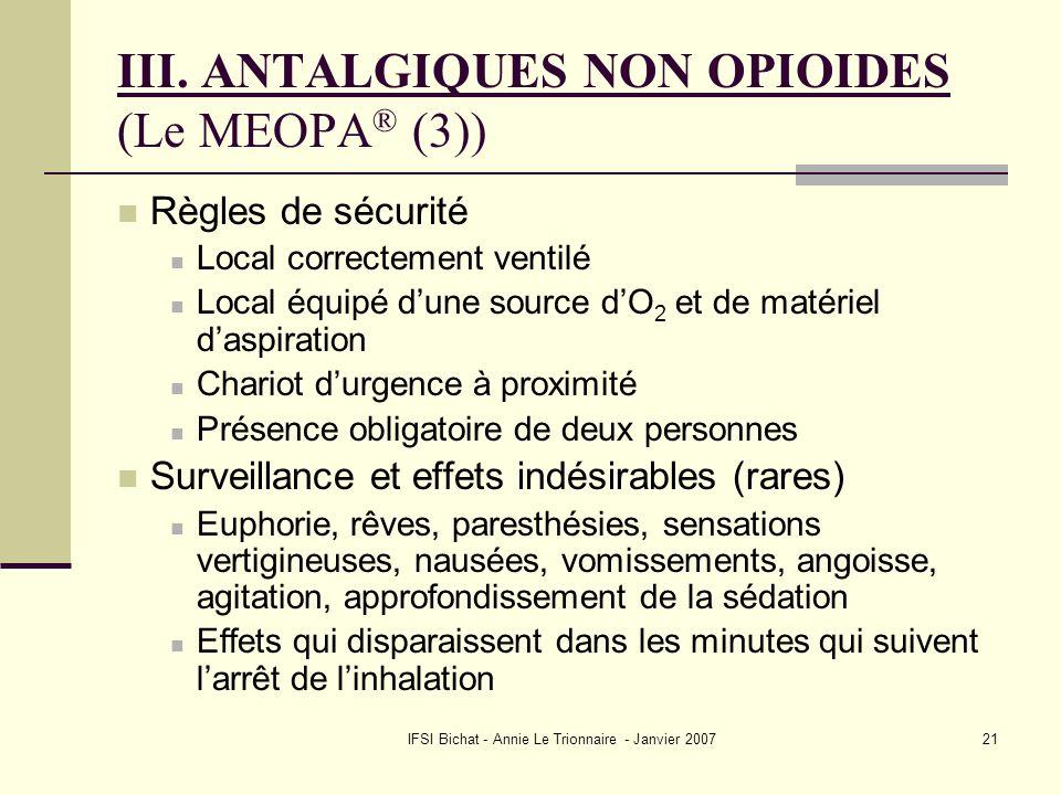 IFSI Bichat - Annie Le Trionnaire - Janvier 200721 III. ANTALGIQUES NON OPIOIDES (Le MEOPA ® (3)) Règles de sécurité Local correctement ventilé Local