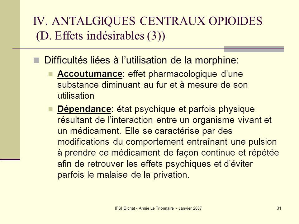 IFSI Bichat - Annie Le Trionnaire - Janvier 200731 IV. ANTALGIQUES CENTRAUX OPIOIDES (D. Effets indésirables (3)) Difficultés liées à lutilisation de