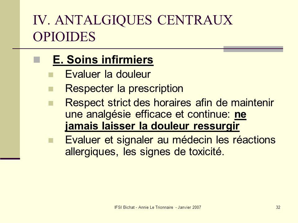 IFSI Bichat - Annie Le Trionnaire - Janvier 200732 IV. ANTALGIQUES CENTRAUX OPIOIDES E. Soins infirmiers Evaluer la douleur Respecter la prescription