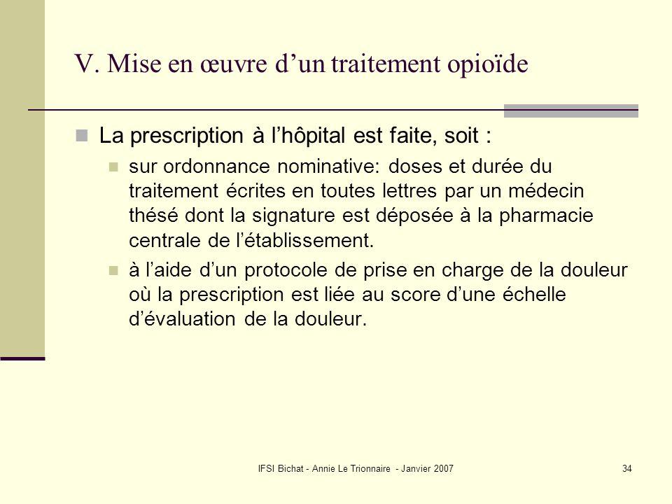 IFSI Bichat - Annie Le Trionnaire - Janvier 200734 V. Mise en œuvre dun traitement opioïde La prescription à lhôpital est faite, soit : sur ordonnance