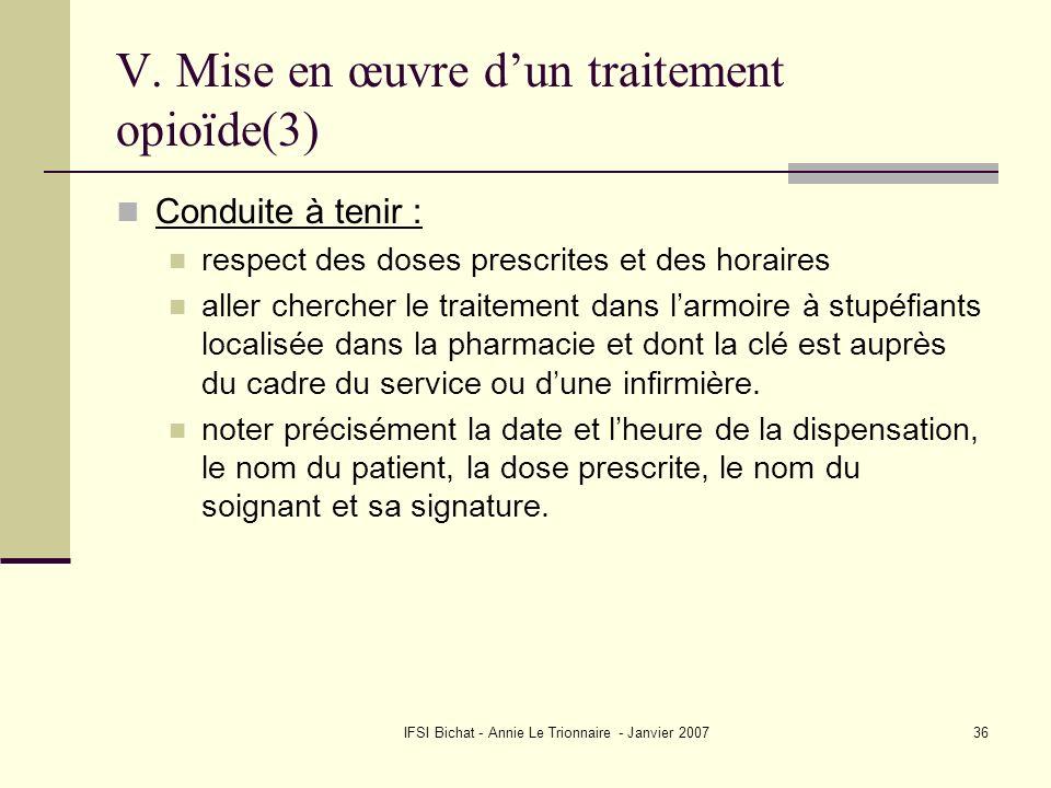 IFSI Bichat - Annie Le Trionnaire - Janvier 200736 V. Mise en œuvre dun traitement opioïde(3) Conduite à tenir : respect des doses prescrites et des h