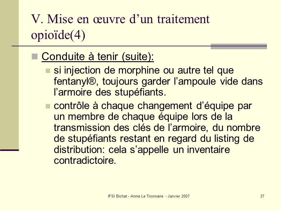 IFSI Bichat - Annie Le Trionnaire - Janvier 200737 V. Mise en œuvre dun traitement opioïde(4) Conduite à tenir (suite): si injection de morphine ou au
