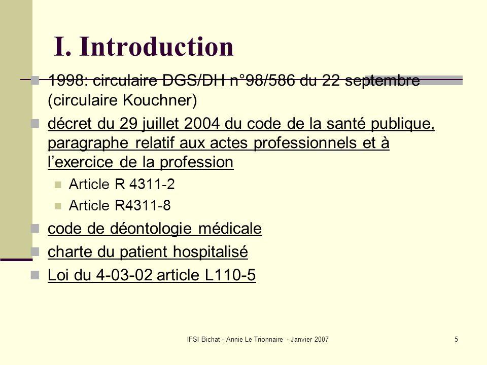IFSI Bichat - Annie Le Trionnaire - Janvier 20075 I. Introduction 1998: circulaire DGS/DH n°98/586 du 22 septembre (circulaire Kouchner) décret du 29