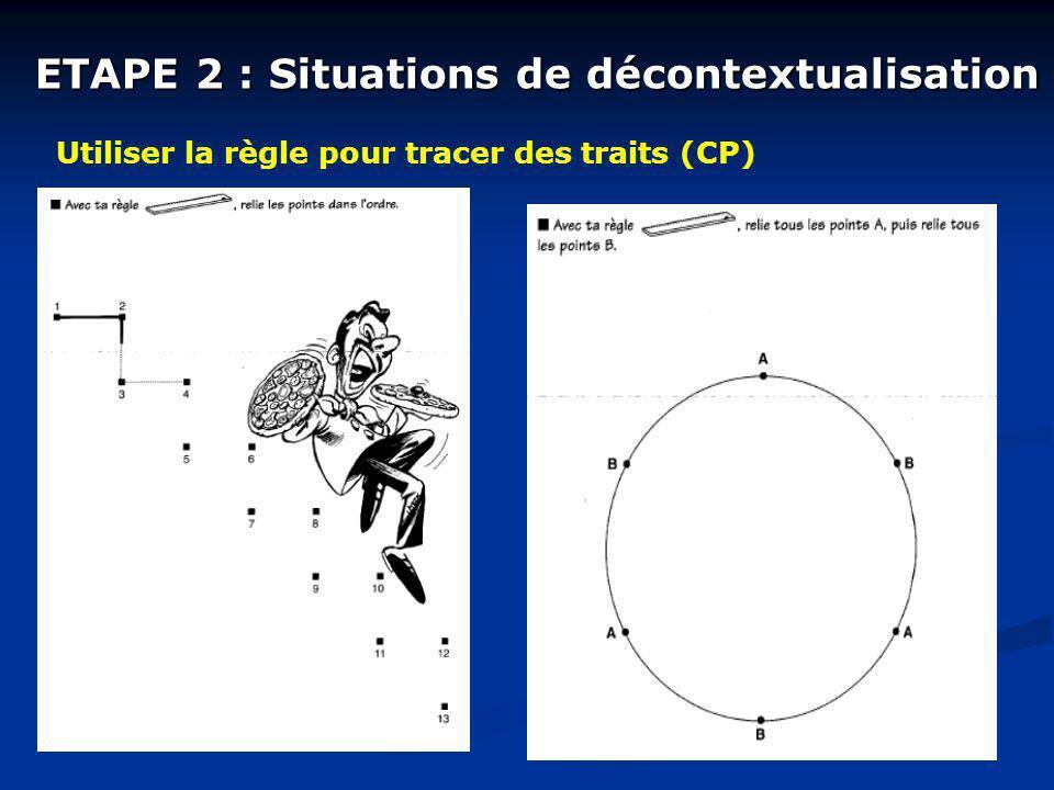 ETAPE 2 : Situations de décontextualisation Utiliser la règle pour tracer des traits (CP)