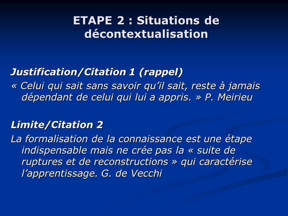 ETAPE 2 : Situations de décontextualisation Justification/Citation 1 (rappel) « Celui qui sait sans savoir quil sait, reste à jamais dépendant de celu