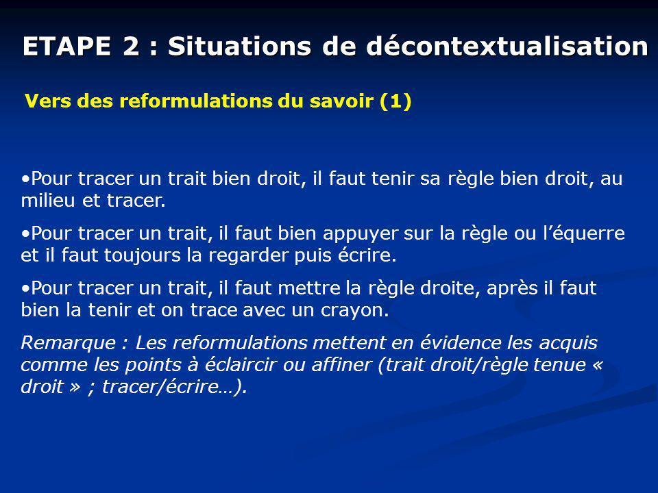 ETAPE 2 : Situations de décontextualisation Vers des reformulations du savoir (1) Pour tracer un trait bien droit, il faut tenir sa règle bien droit, au milieu et tracer.