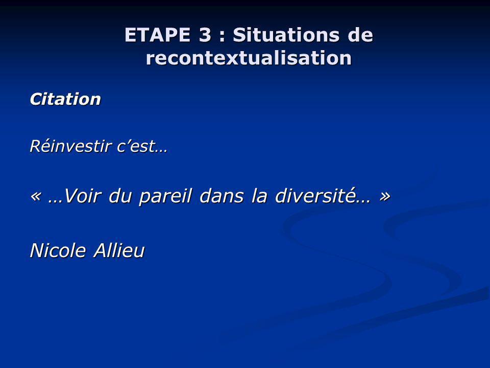 ETAPE 3 : Situations de recontextualisation Citation Réinvestir cest… « …Voir du pareil dans la diversité… » Nicole Allieu