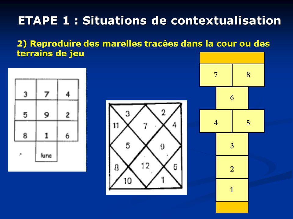 ETAPE 1 : Situations de contextualisation 2) Reproduire des marelles tracées dans la cour ou des terrains de jeu 1 2 3 45 6 78