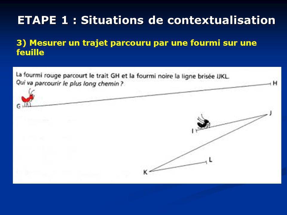 ETAPE 1 : Situations de contextualisation 3) Mesurer un trajet parcouru par une fourmi sur une feuille