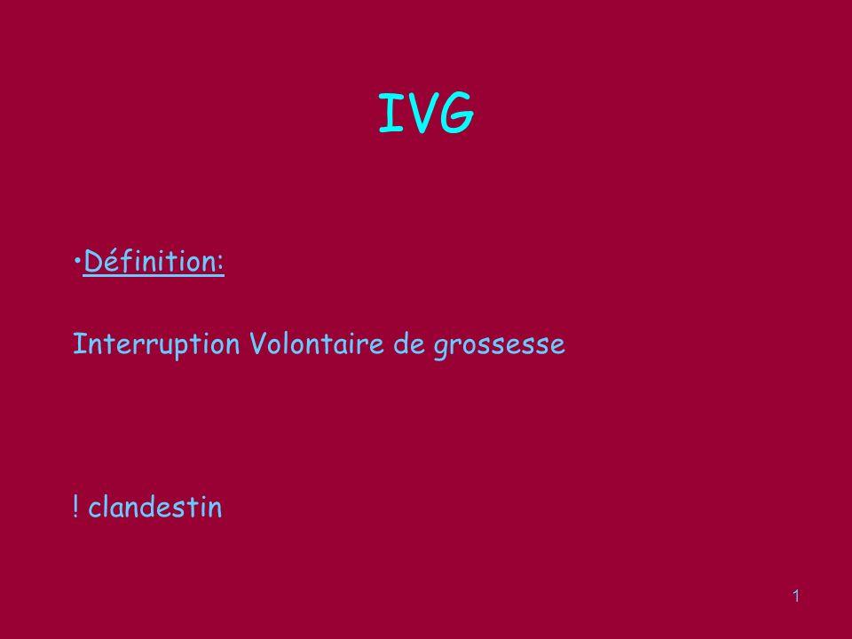 2 IVG Législation: –Loi Veil de 1979, légalise lIVG, modifié en 2001 –Avant 14 SA –Sans motif médical, à la seule demande de la femme –Dossier légal type, forfait standar, gratuité.