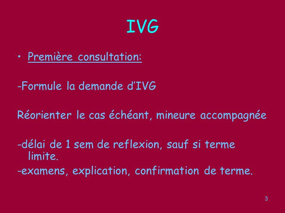4 IVG Consultation sociale: -facultative (sauf, mineure) -info sur alternative à lIVG(abandon, acct ss X) -mission déducation, notamment contraception.